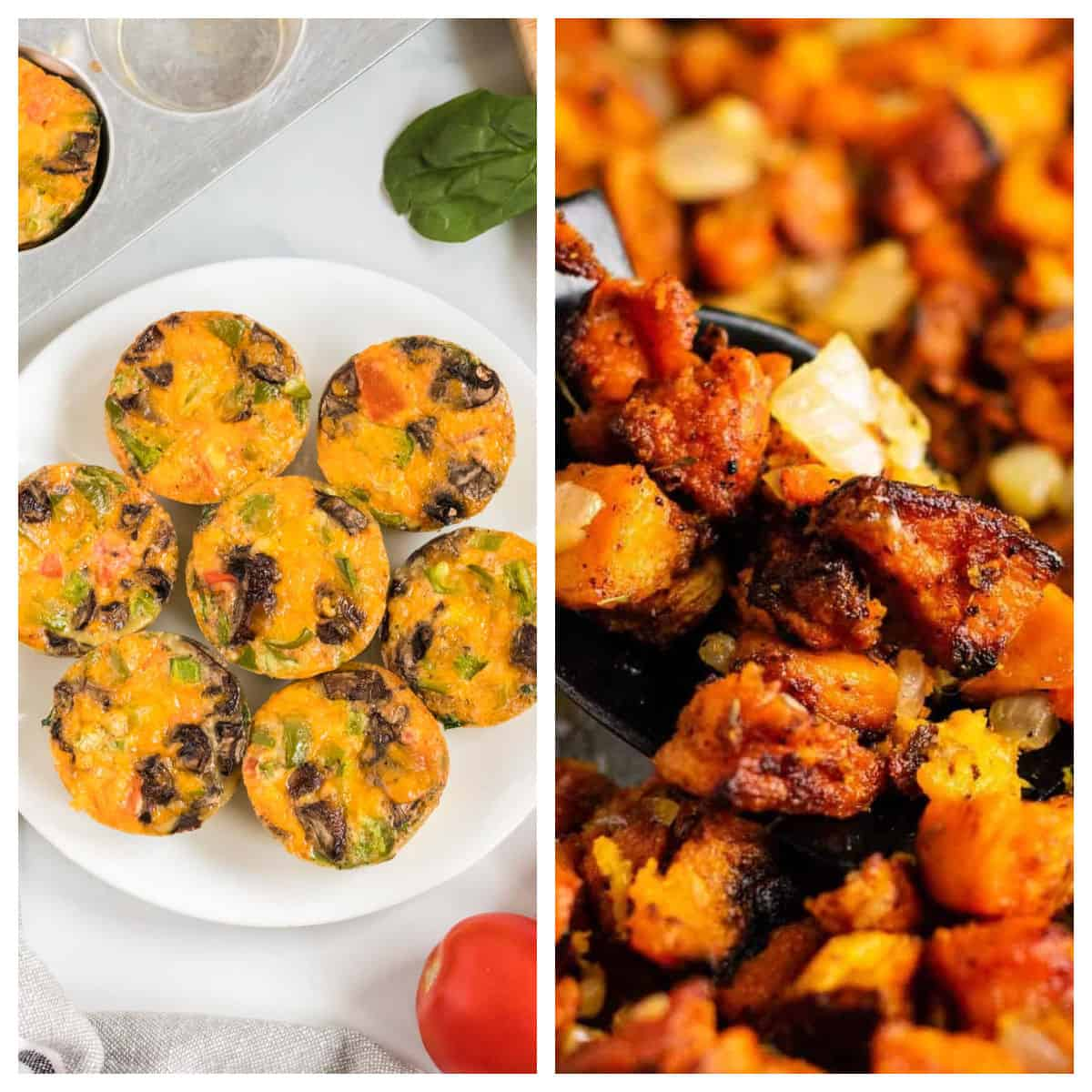 collage image showing egg muffin cups and sweet potato hash