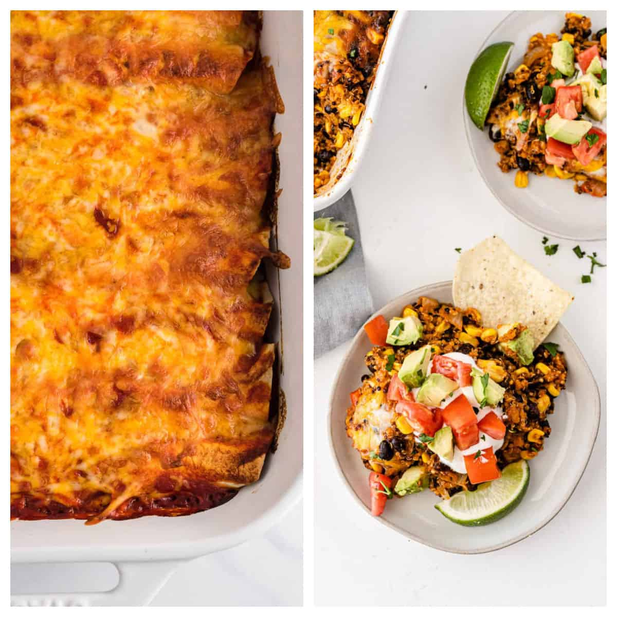 collage image showing enchiladas and quinoa mexican casserole