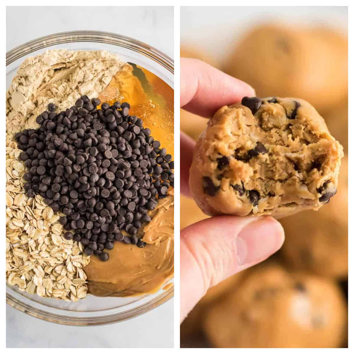 collage image showing energy balls