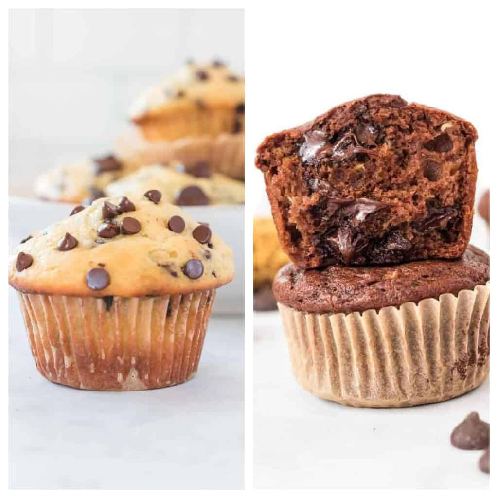 collage image showing greek yogurt muffins and healthy chocolate muffins