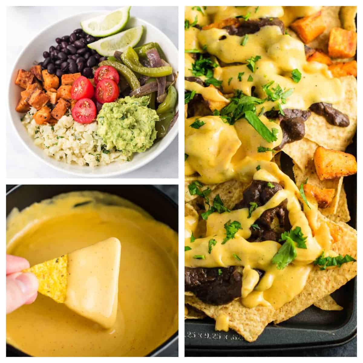 collage image showing a burrito bowl, nacho cheese sauce, and a sheet pan of nachos