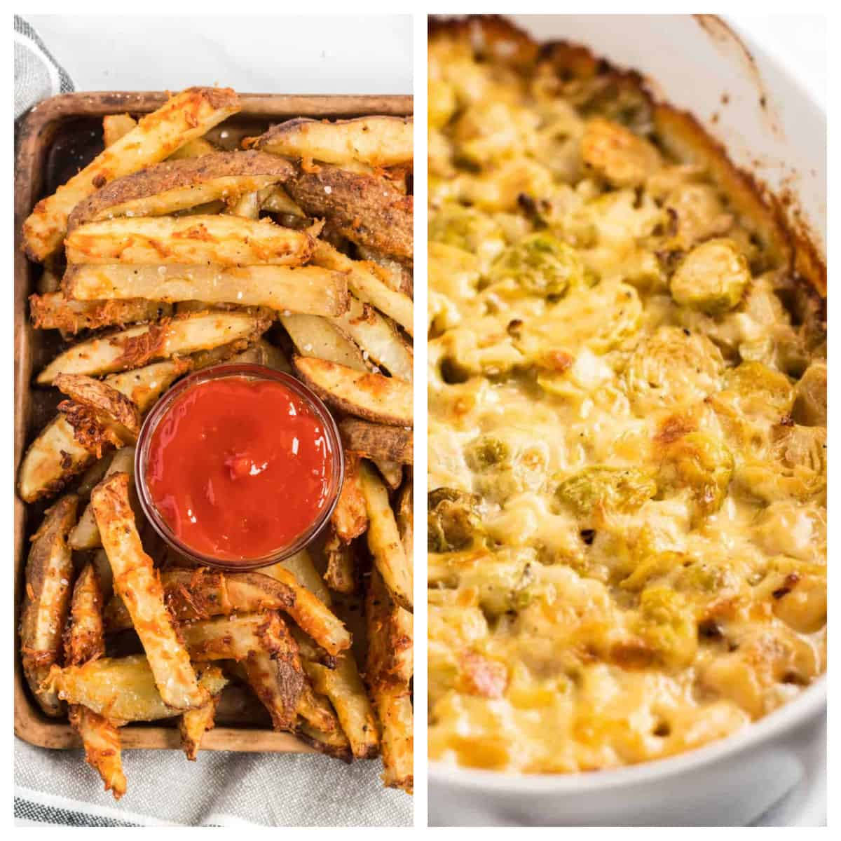 collage image with potato wedges and brussel sprouts gratin