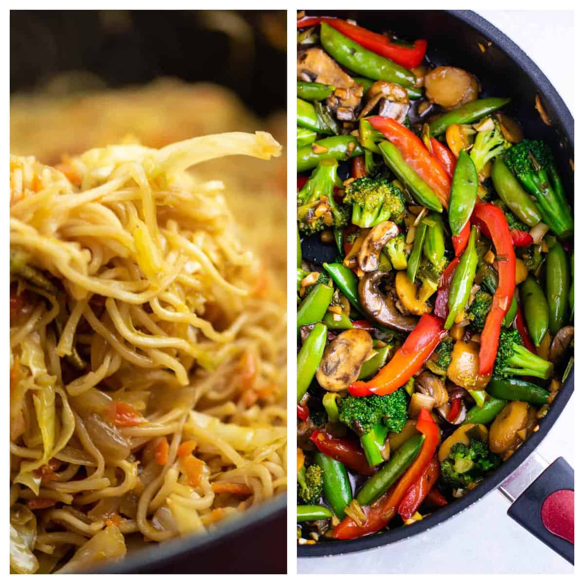 collage image showing cabbage stir fry and stir fry vegetables
