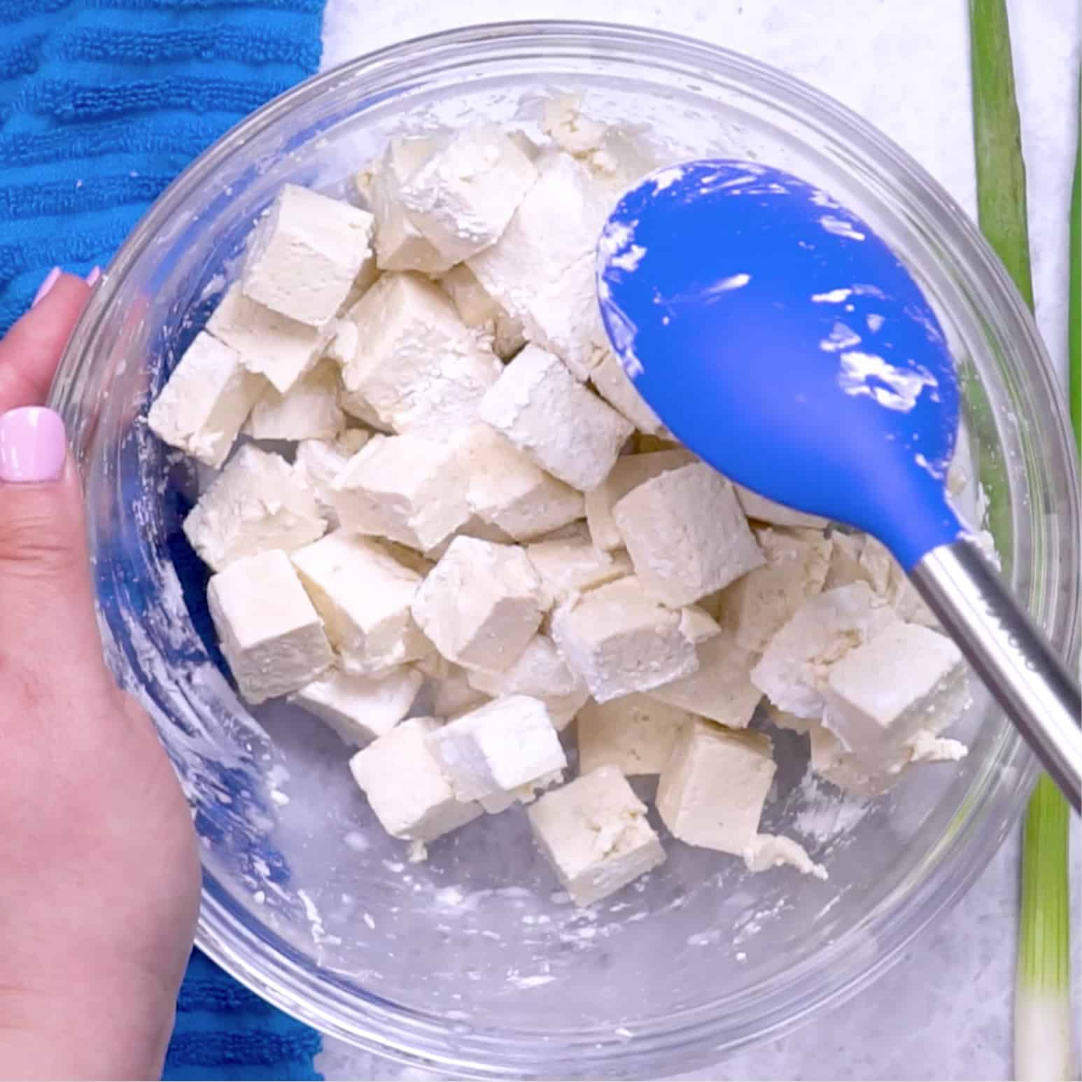 cubed extra firm tofu with cornstarch