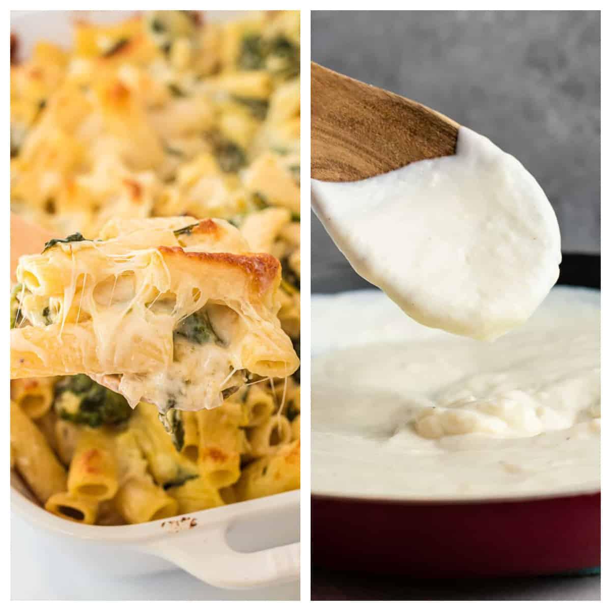 collage image showing spinach artichoke pasta bake and cauliflower alfredo sauce