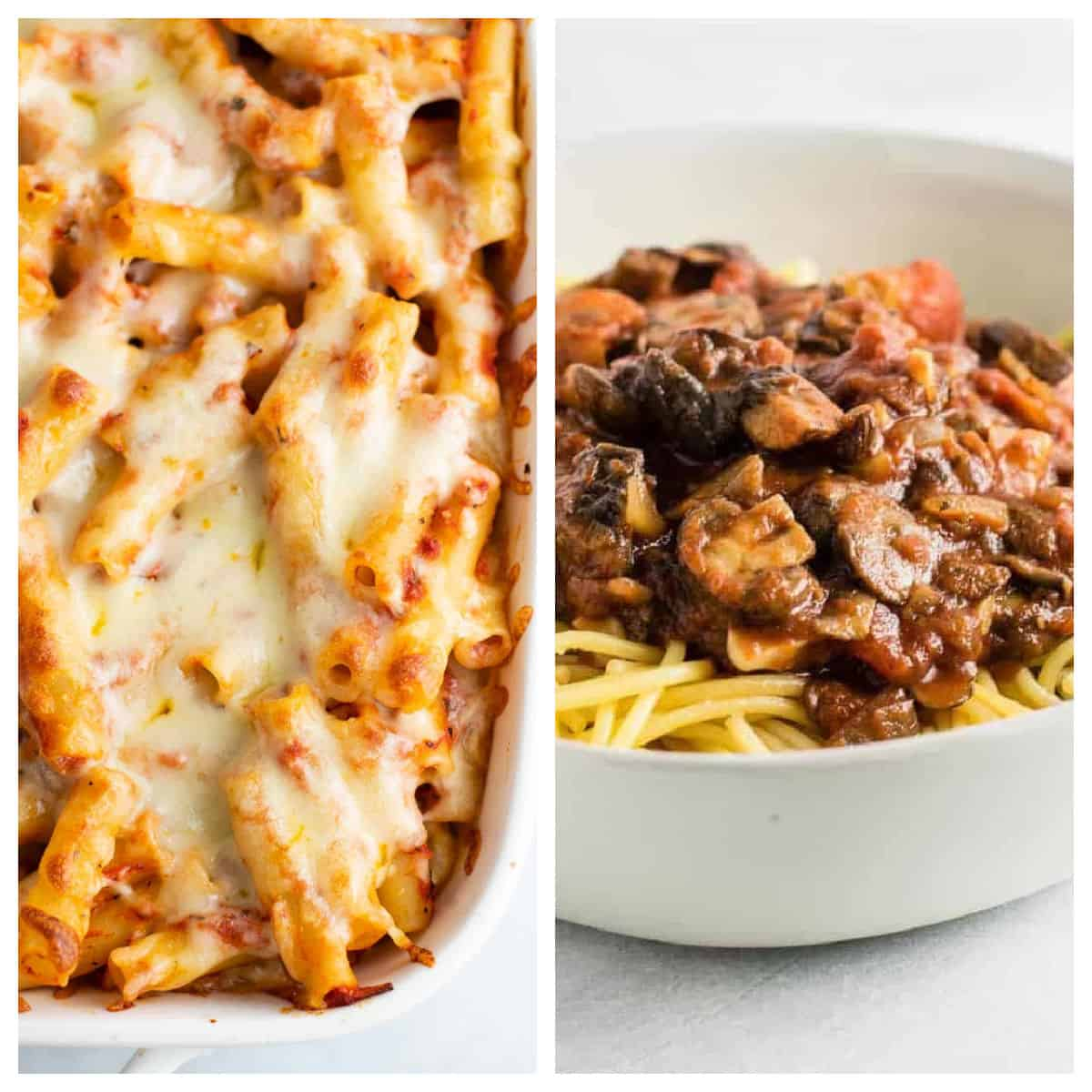 collage image showing vegetarian baked ziti and meatless spaghetti sauce