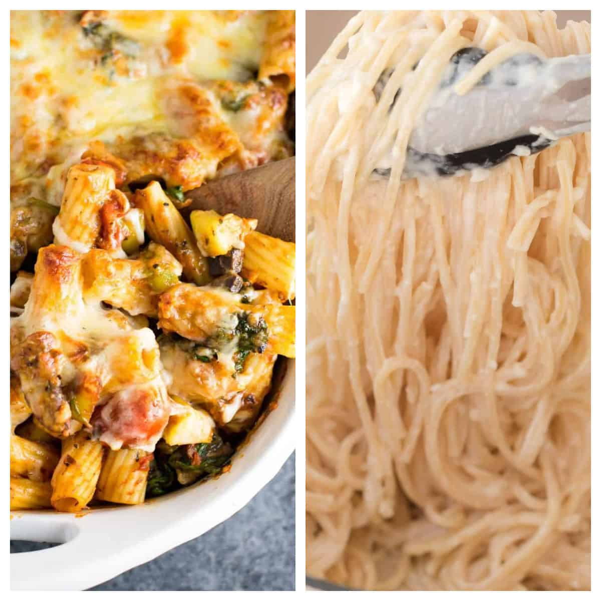 collage image showing veggie lover's pasta bake and cream cheese pasta