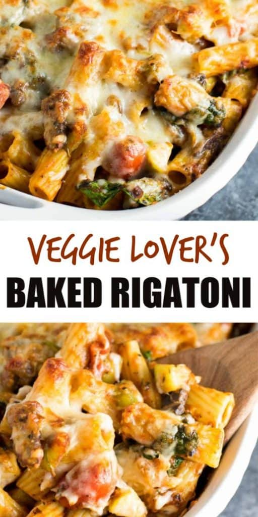 "image with text ""veggie lover's baked rigatoni"""