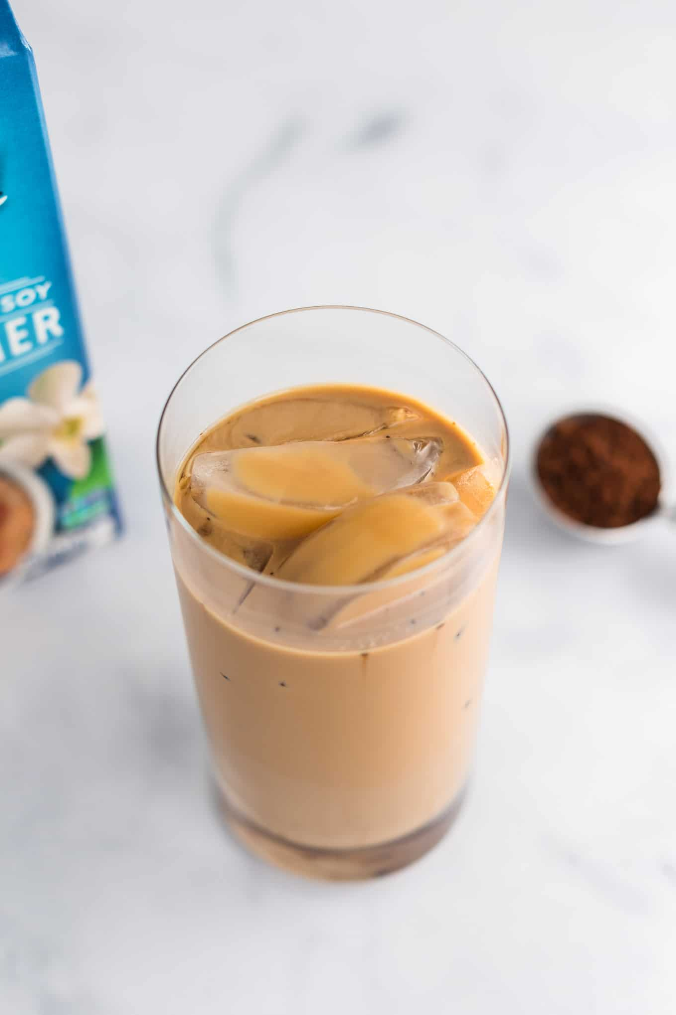 coffee in a glass with ice cubes
