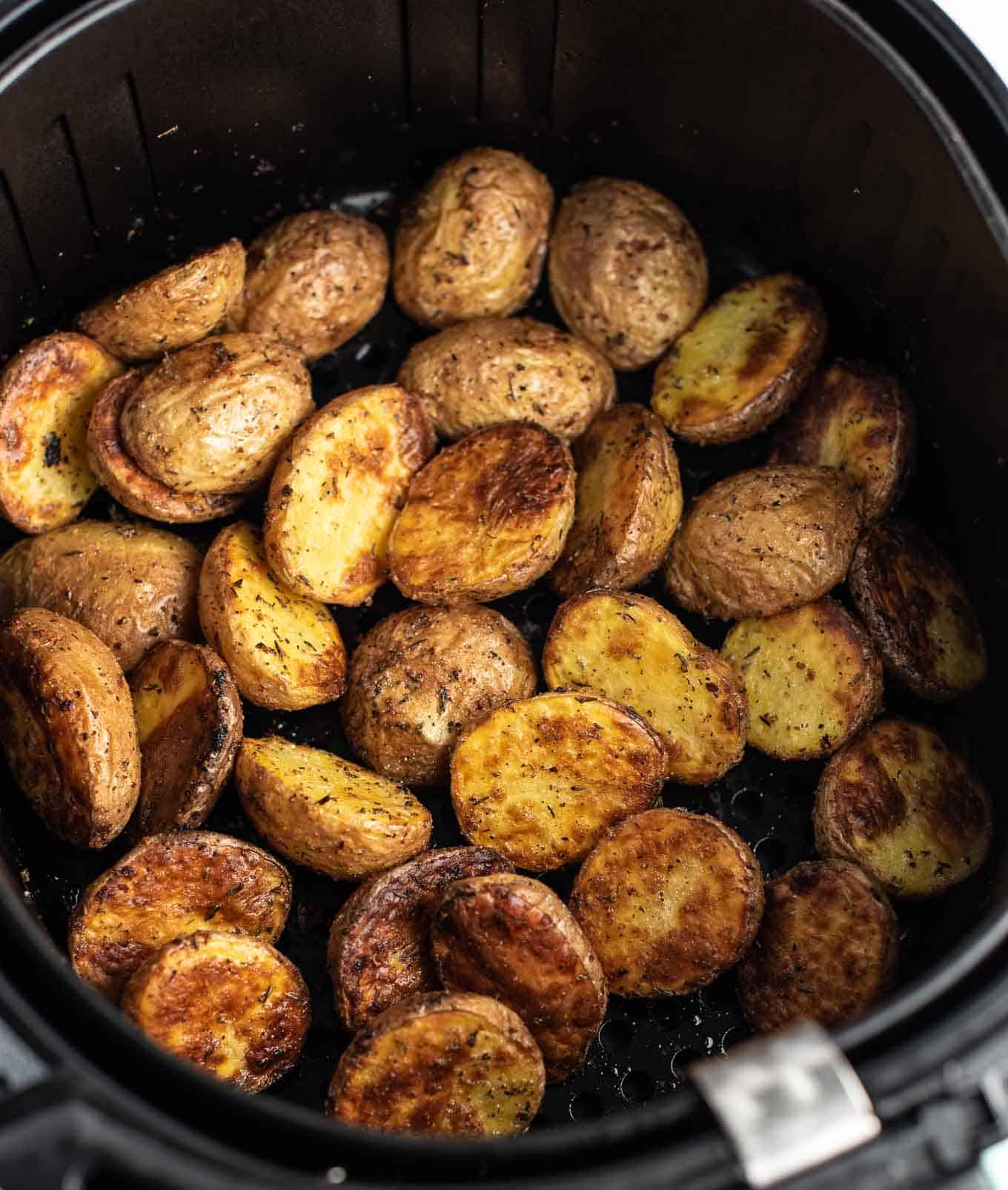 roasted potatoes in the air fryer from an overhead view