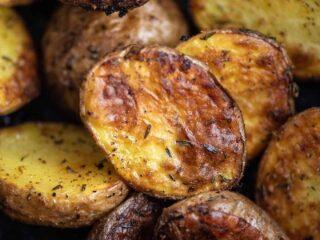 roasted potatoes up close image