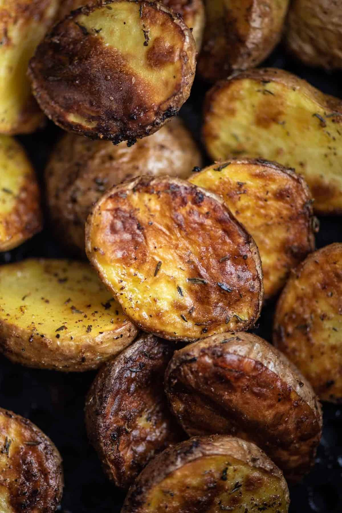 roasted potatoes up close image