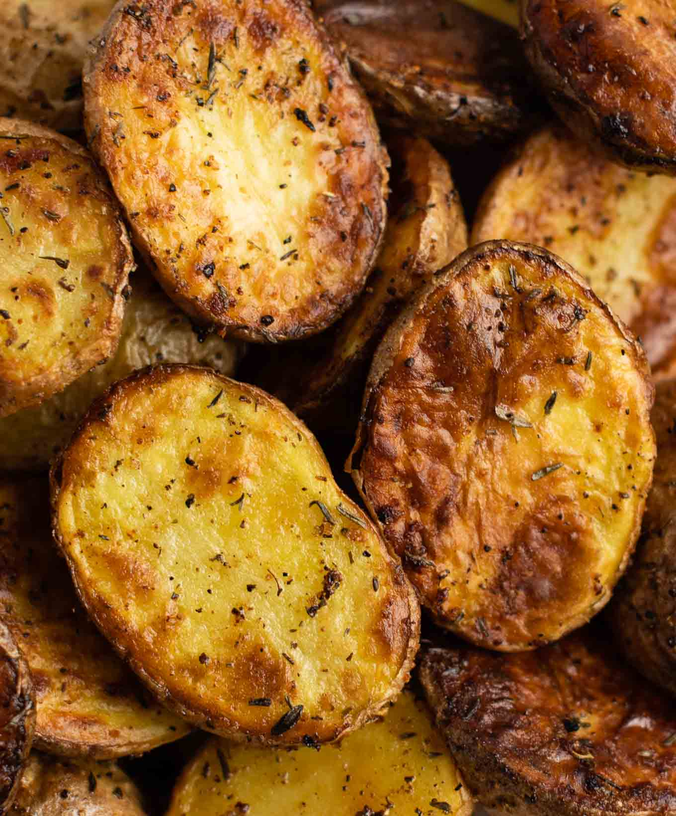air fryer potatoes up close with herbs