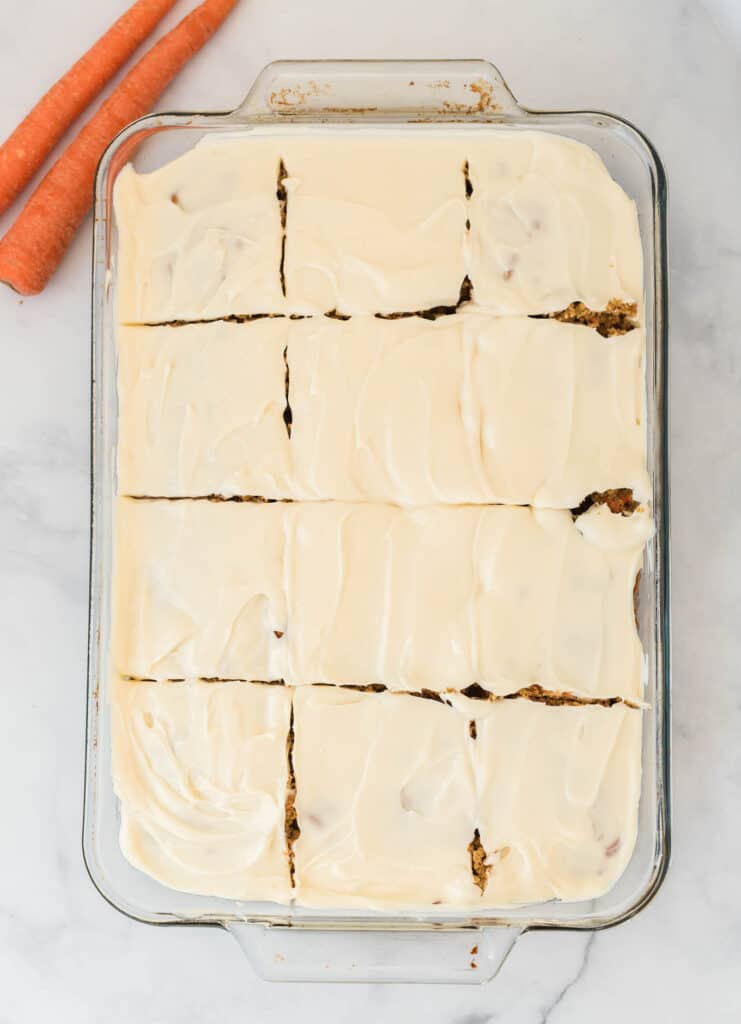 carrot cake sliced into 12 pieces