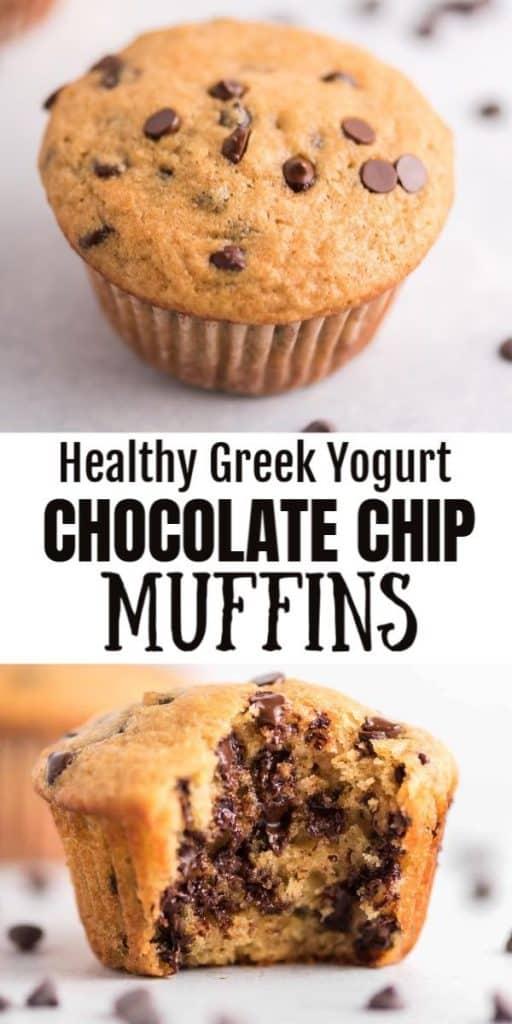 "image with text ""healthy greek yogurt chocolate chip muffins"""