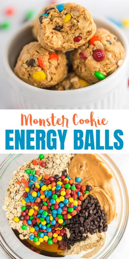"image with text ""monster cookie energy balls"""