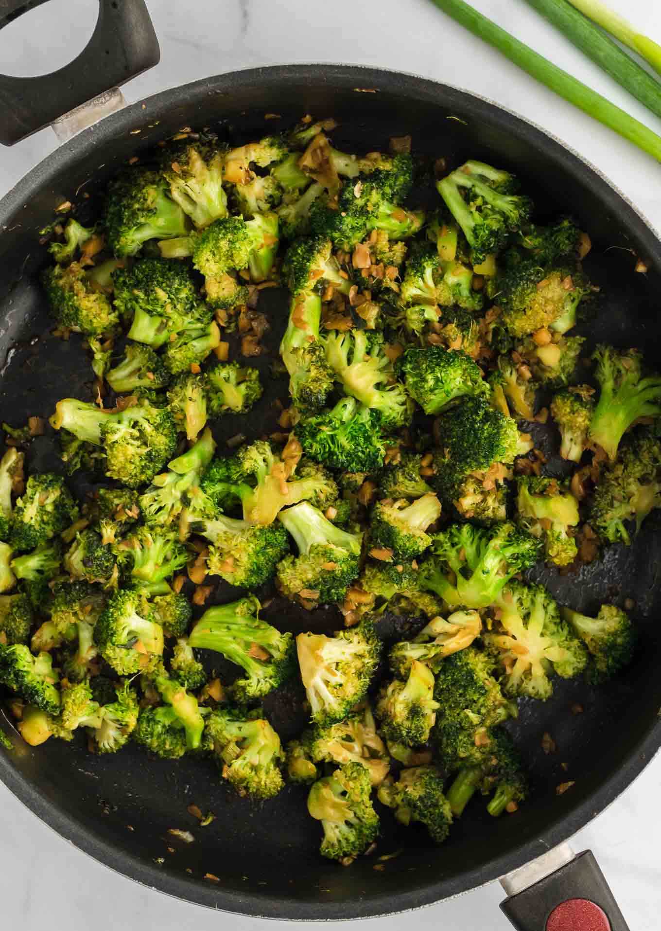 cooked broccoli in a skillet