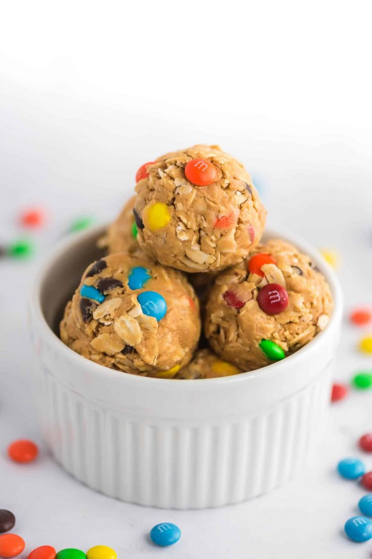 monster cookie energy balls with mini m&m's showing on the sides