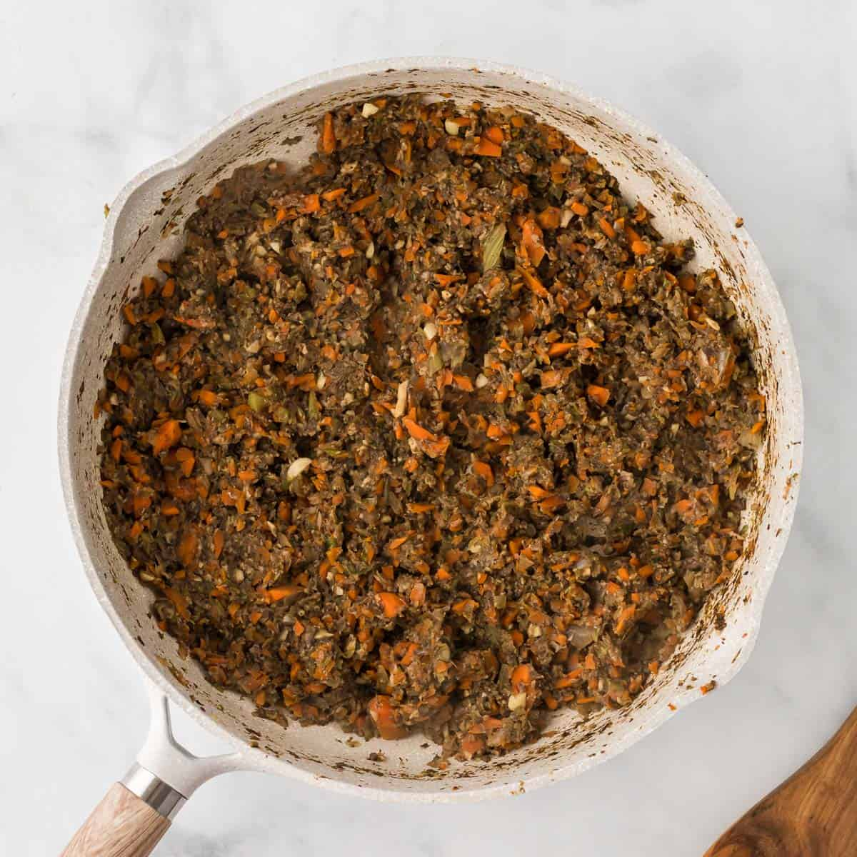"""cooked bolognese vegetable """"meat"""" in the skillet"""