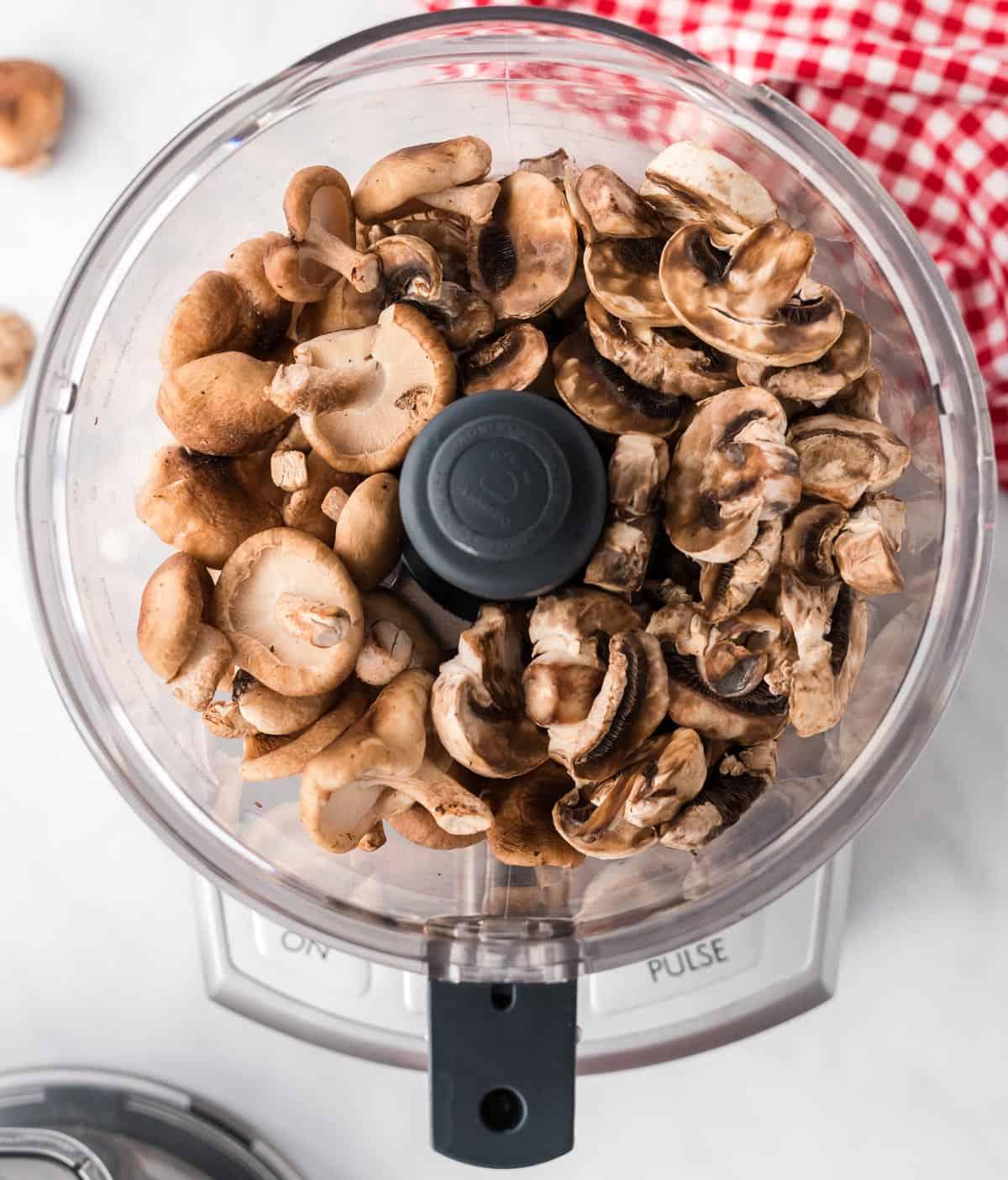 mushrooms in a food processor