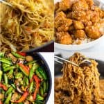 a collage of stir fry recipes