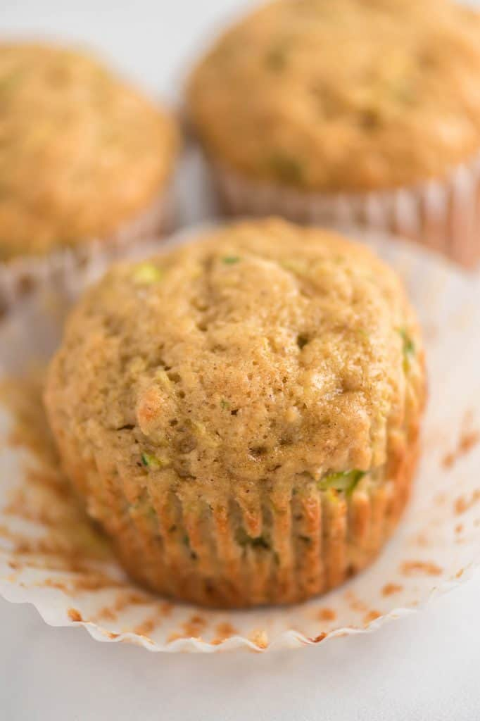 zucchini muffin with a muffin liner