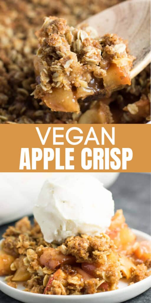 "pinterest image with text ""vegan apple crisp"""