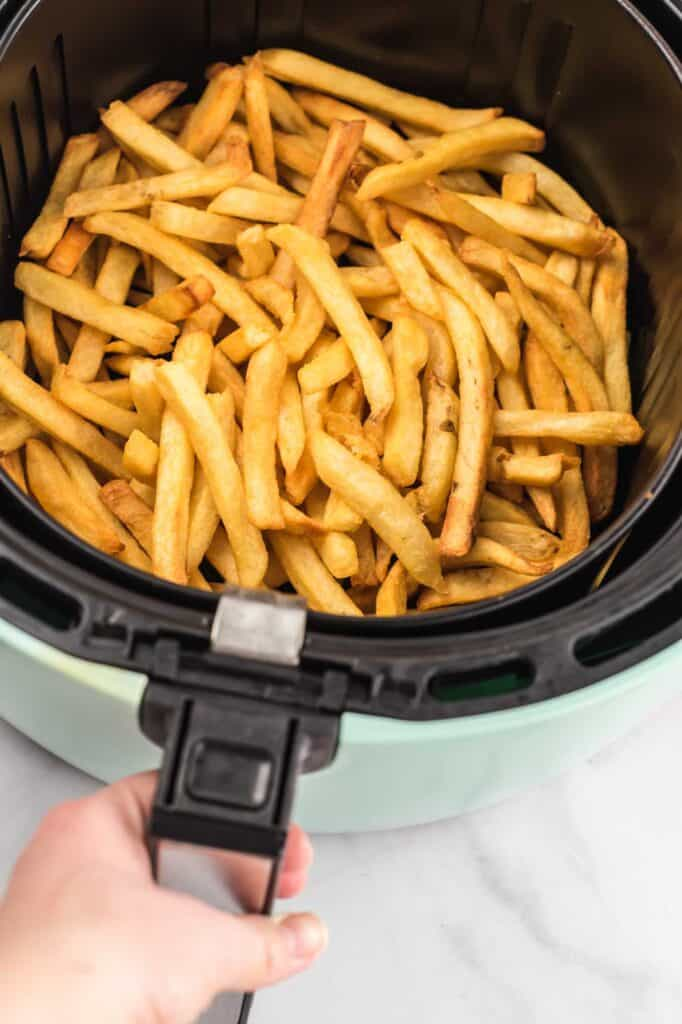 air fryer basket filled with french fries
