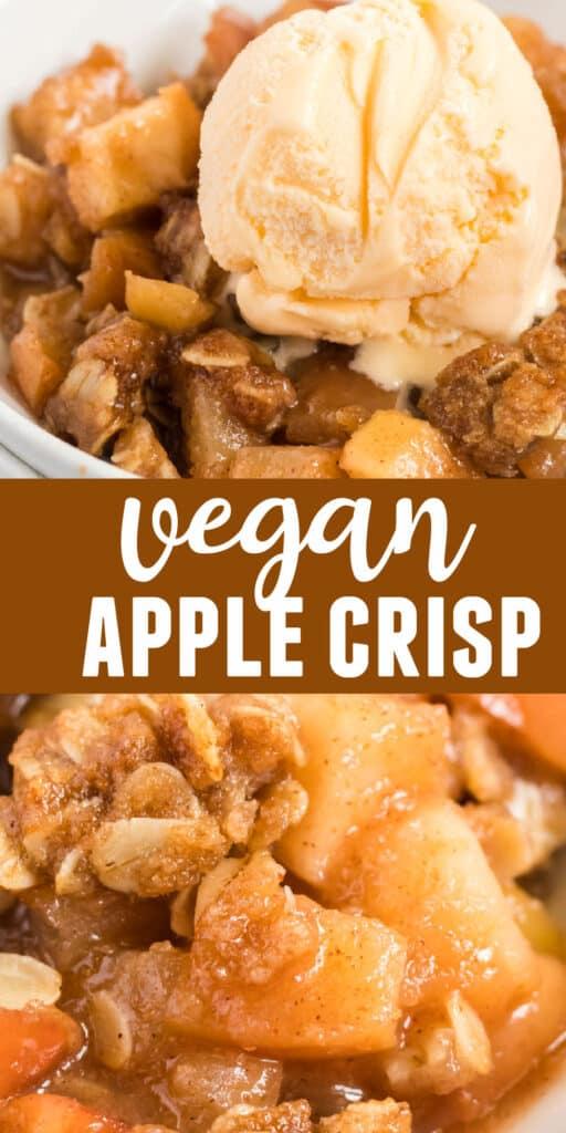 "image with text ""vegan apple crisp"""