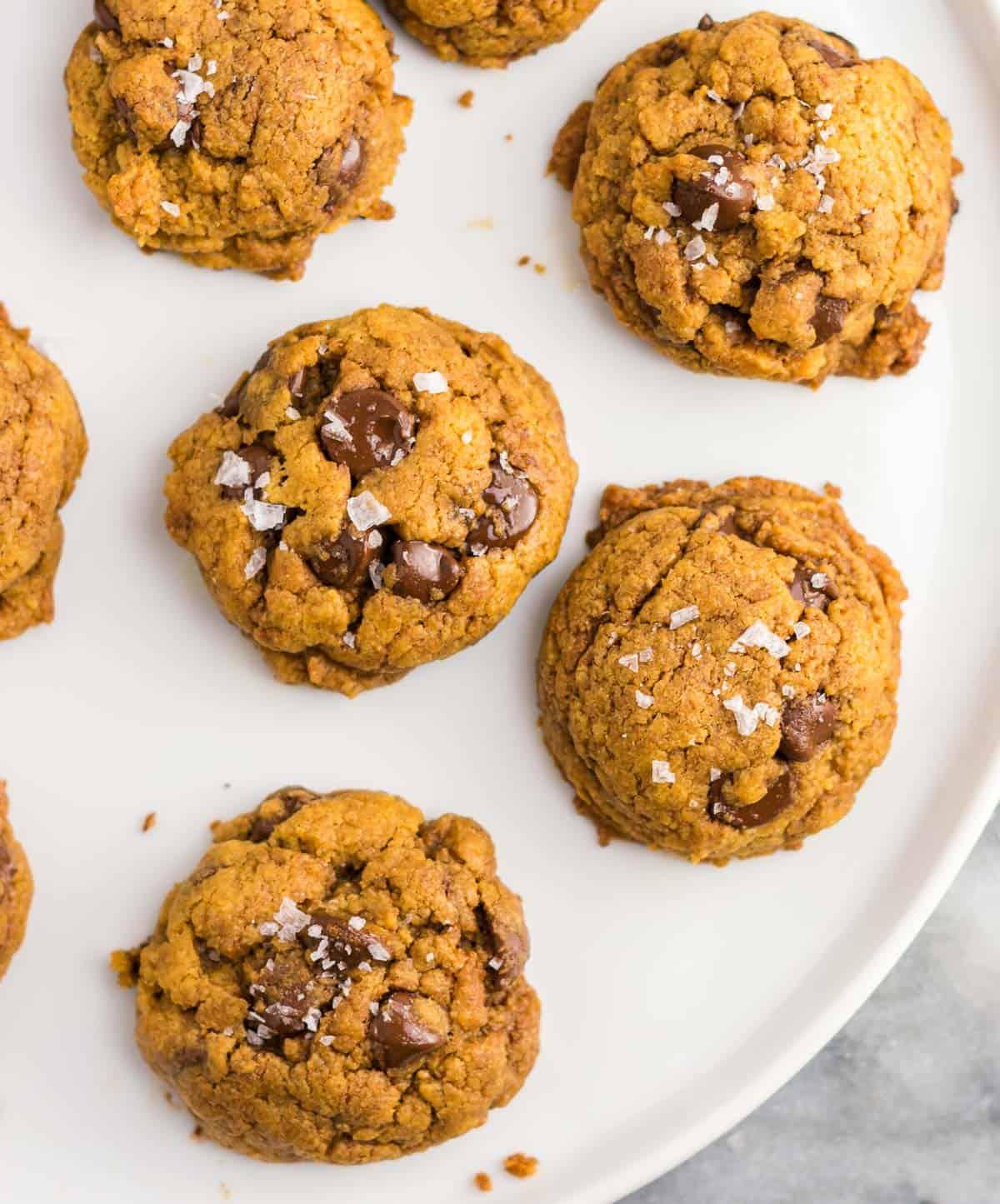 vegan pumpkin cookies on a plate