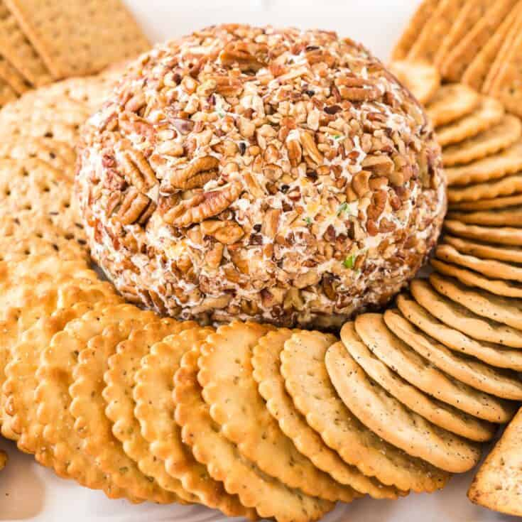 cheese ball surrounded by crackers