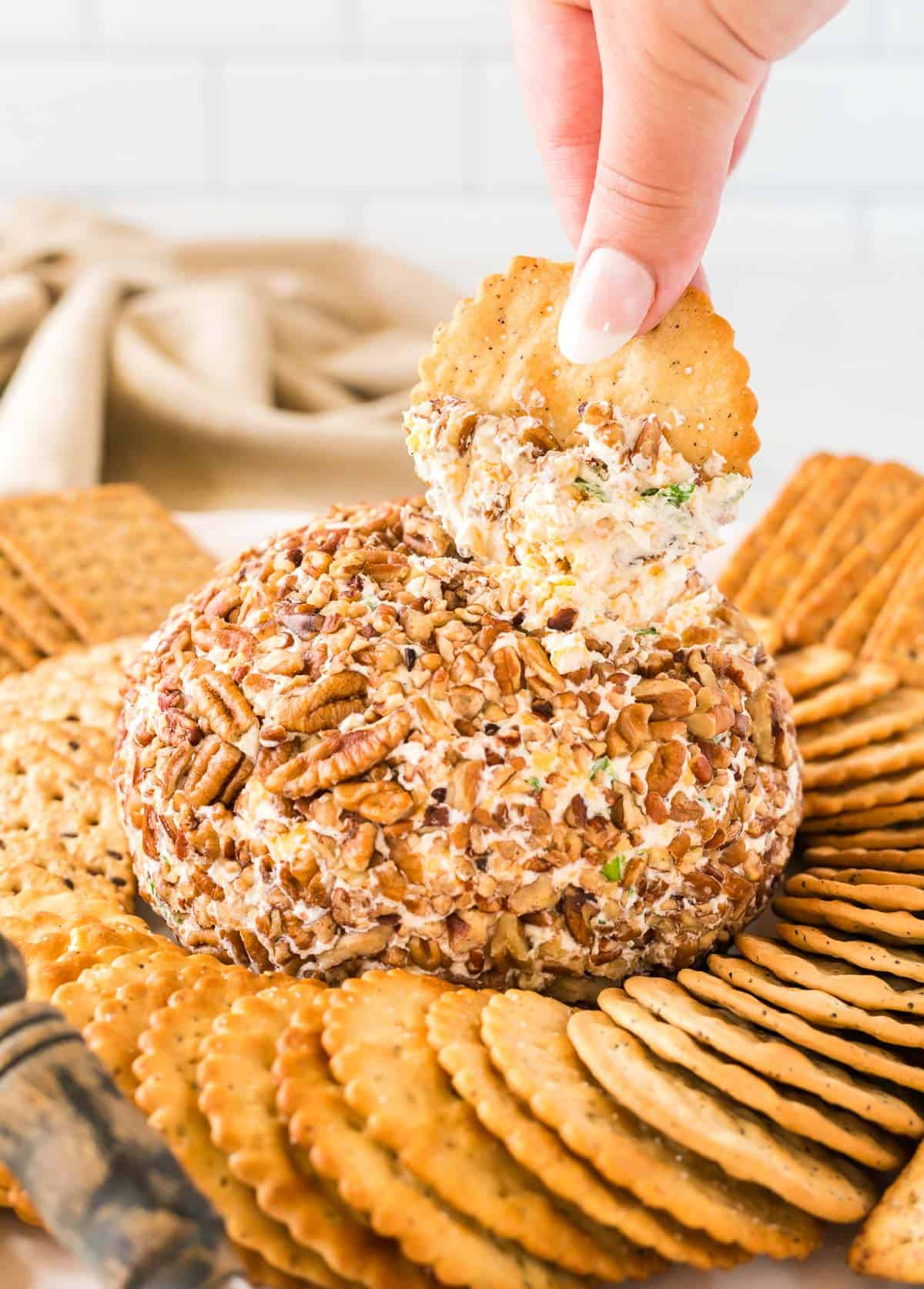 holding a cracker dipped in cheese ball