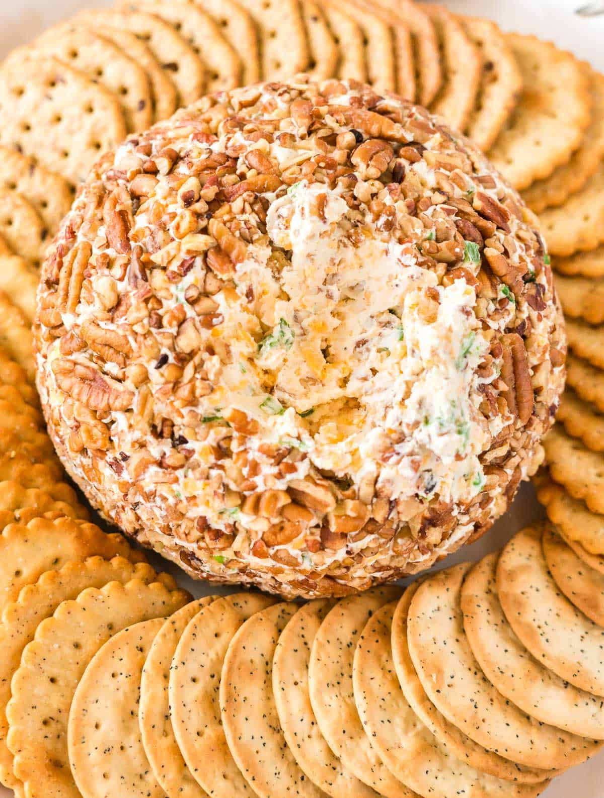 cheese ball platter with crackers