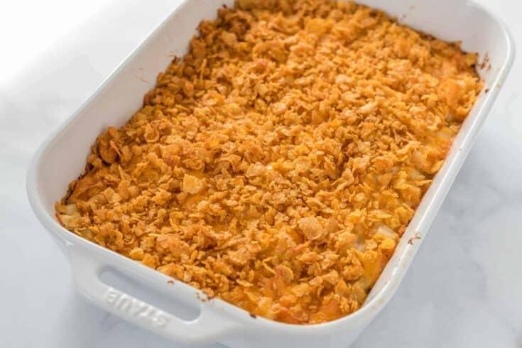 finished cheesy potato casserole with cornflake topping