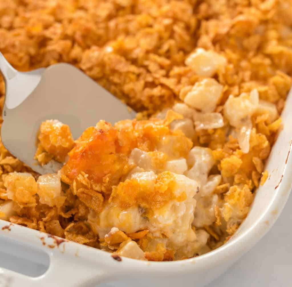 a scoop of funeral potatoes