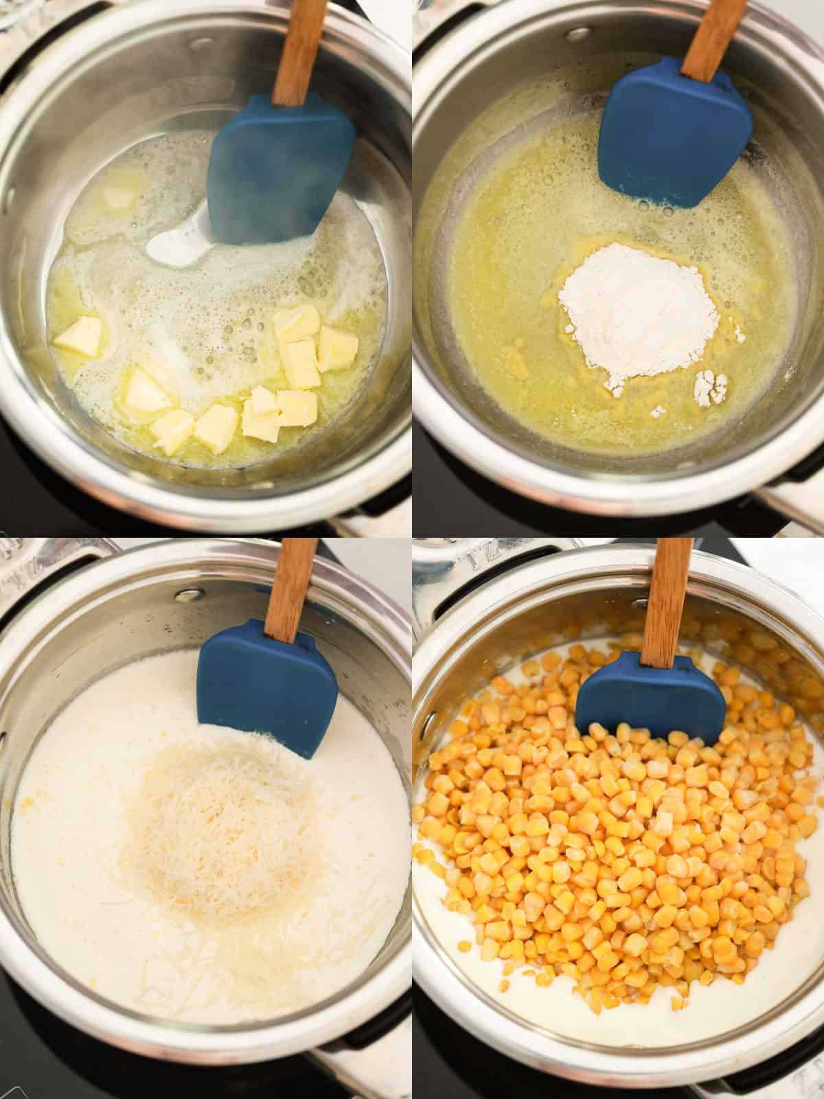 collage image showing the ingredients added to a saucepan to make creamed corn