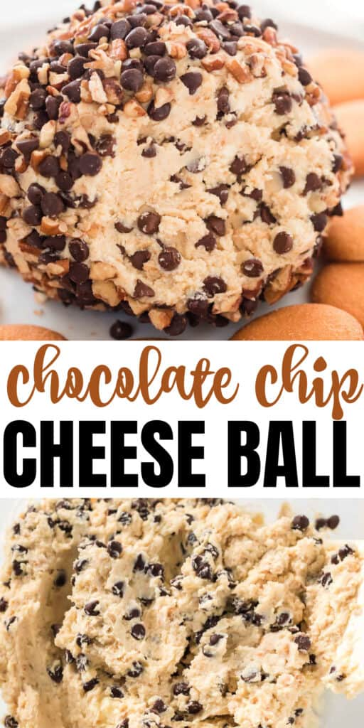 "image with text ""chocolate chip cheese ball"""
