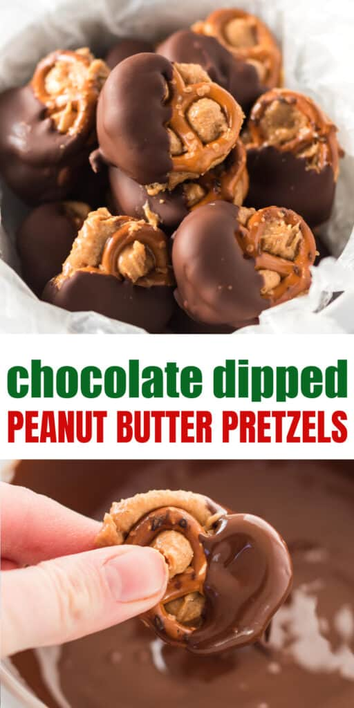 "image with text ""chocolate dipped peanut butter pretzels"""