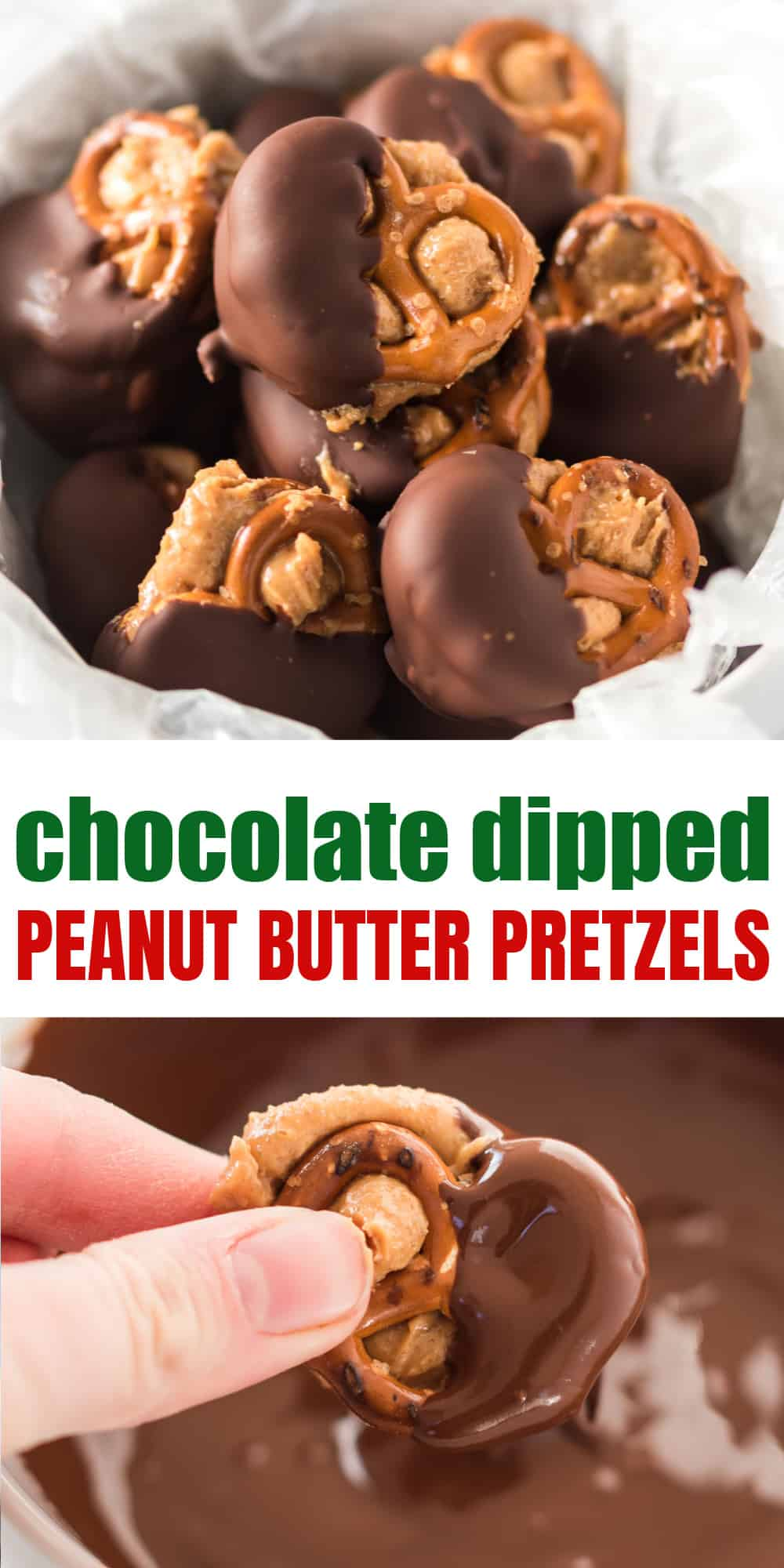 """image with text """"chocolate dipped peanut butter pretzels"""""""