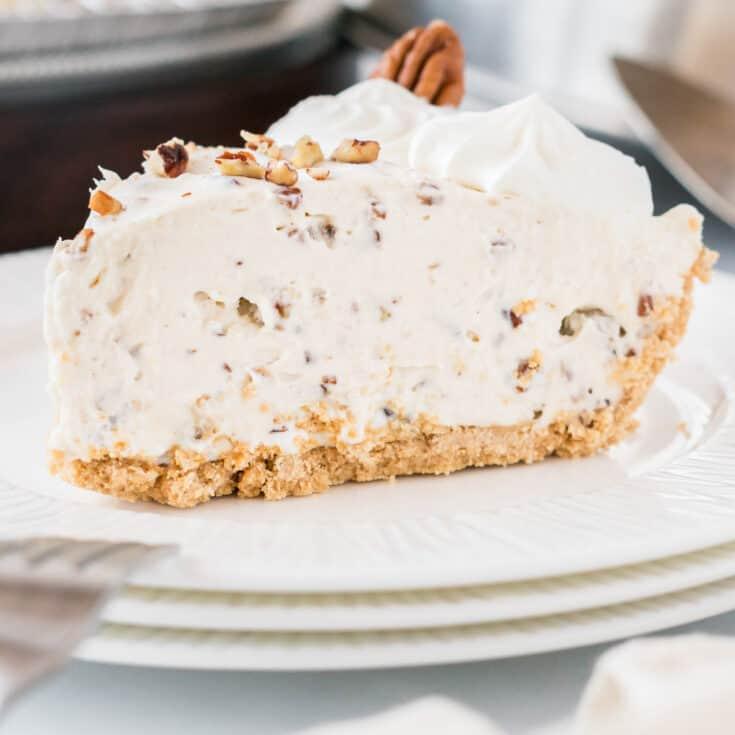 slice of pecan cream pie on a plate