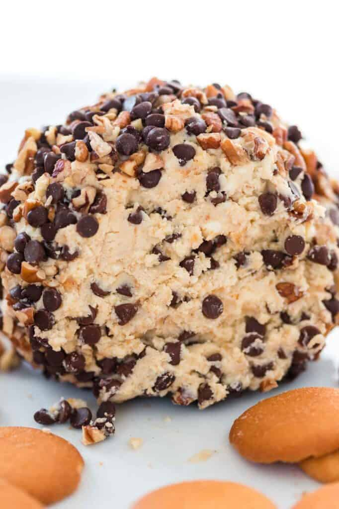 chocolate chip dessert cheese ball showing the inside
