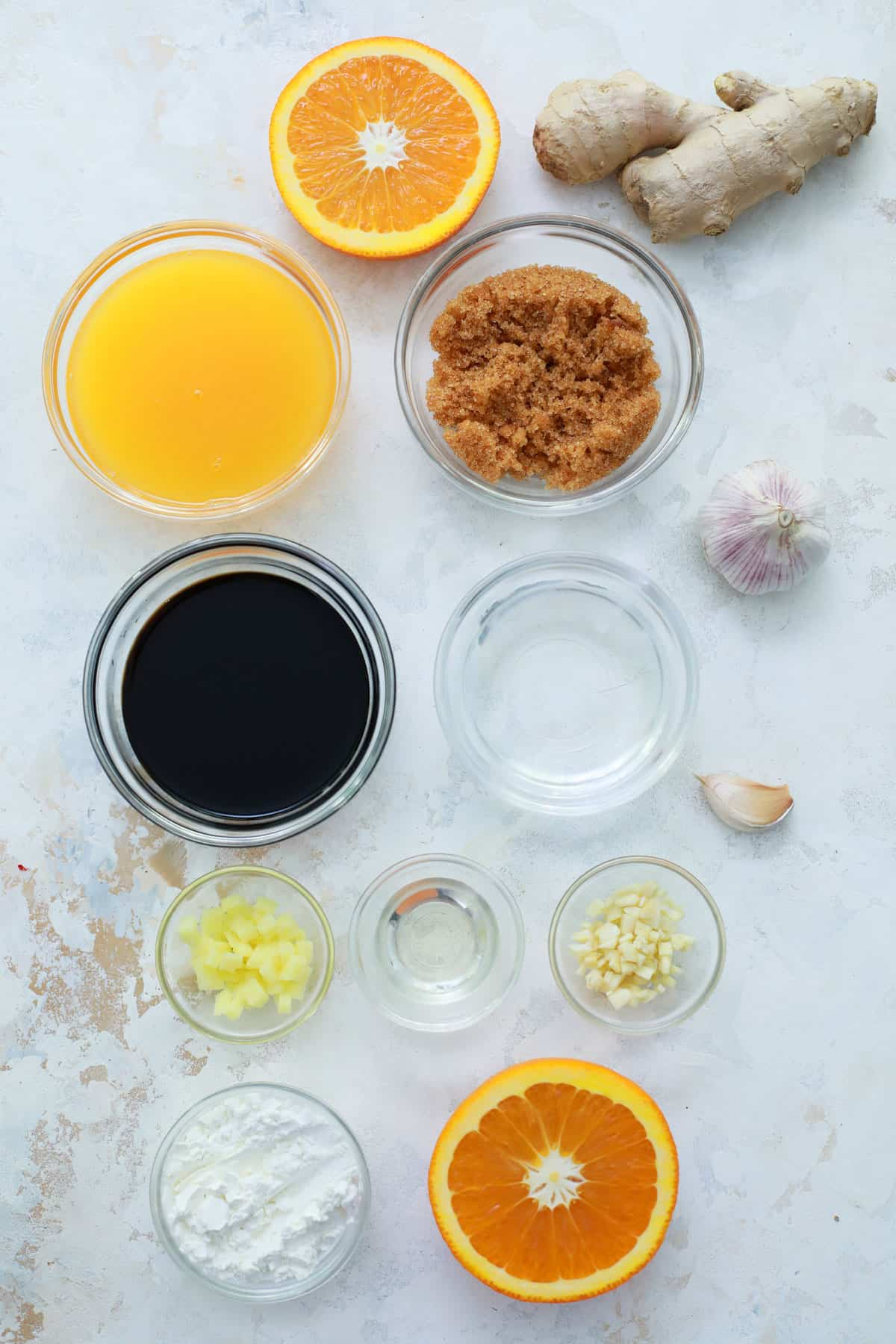 teriyaki sauce ingredients lined up together