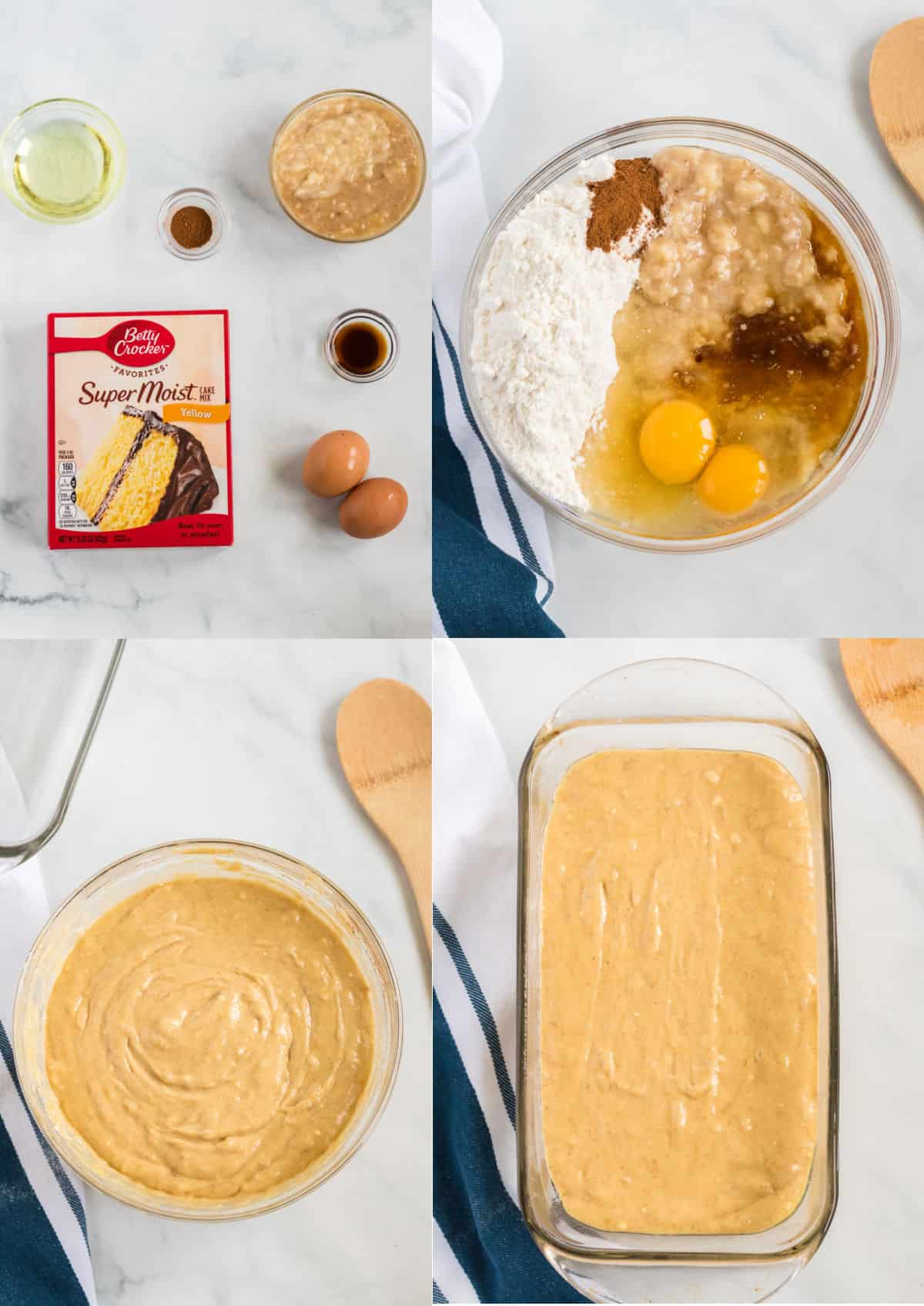 step by step images showing ingredients for the banana bread, mixed in a bowl, and in the baking loaf pan