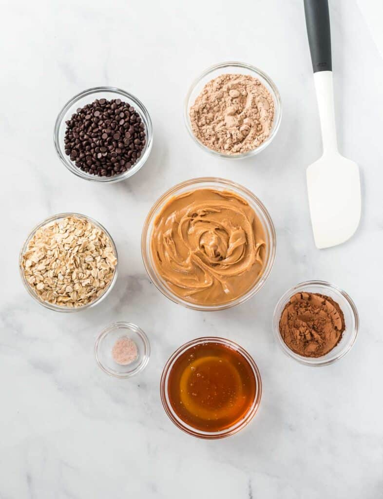 protein ball ingredients in individual glass bowls