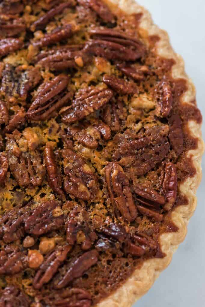 up close texture of the baked pecan pie