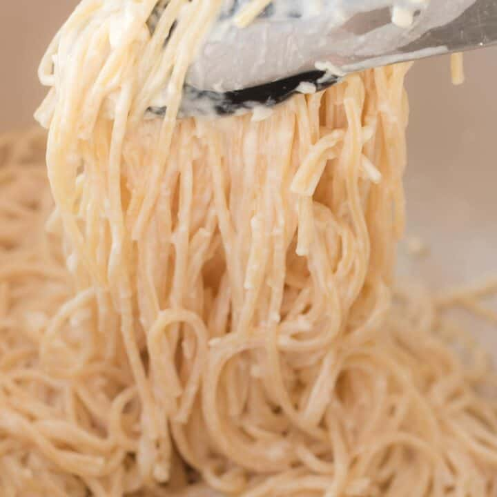 tons grabbing cream cheese spaghetti noodles from the pan