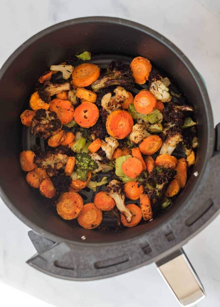 air fried crispy frozen vegetables in the air fryer basket