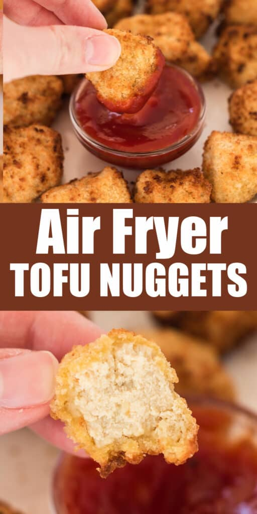 "image with text ""air fryer tofu nuggets"""