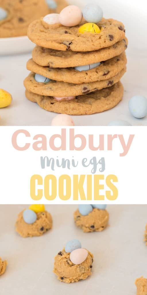 "image with text ""cadbury mini egg cookies"""