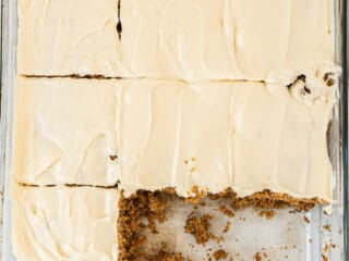 carrot cake sliced with two pieces missing